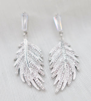 Silver and Crystal Drop Leaf Earrings