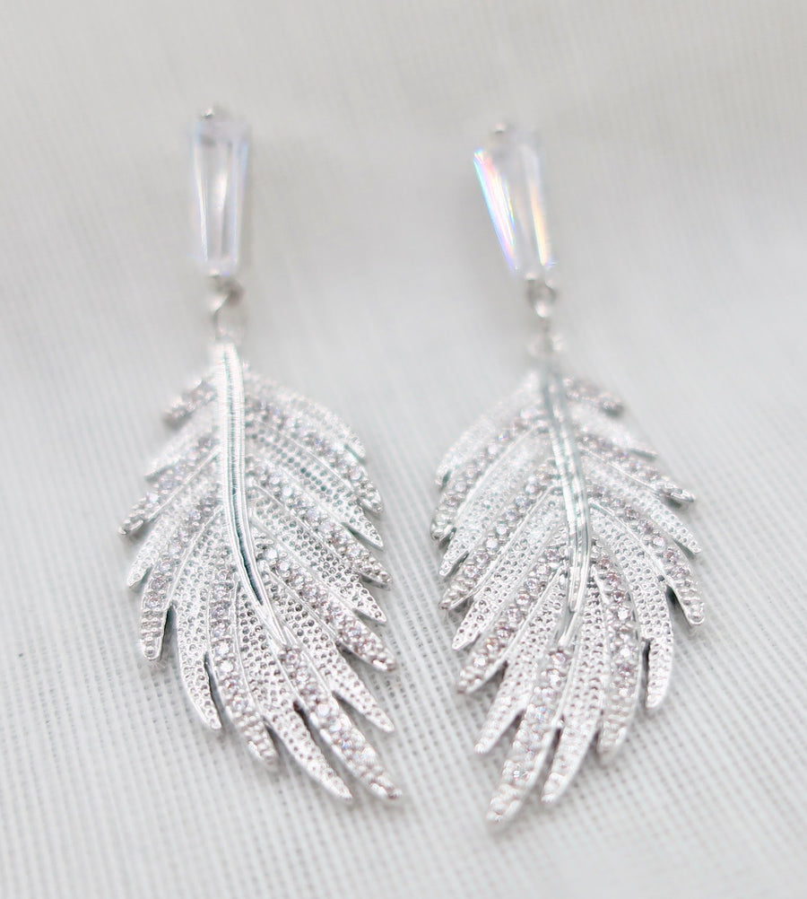 SALE Silver and Crystal Drop Leaf Earrings