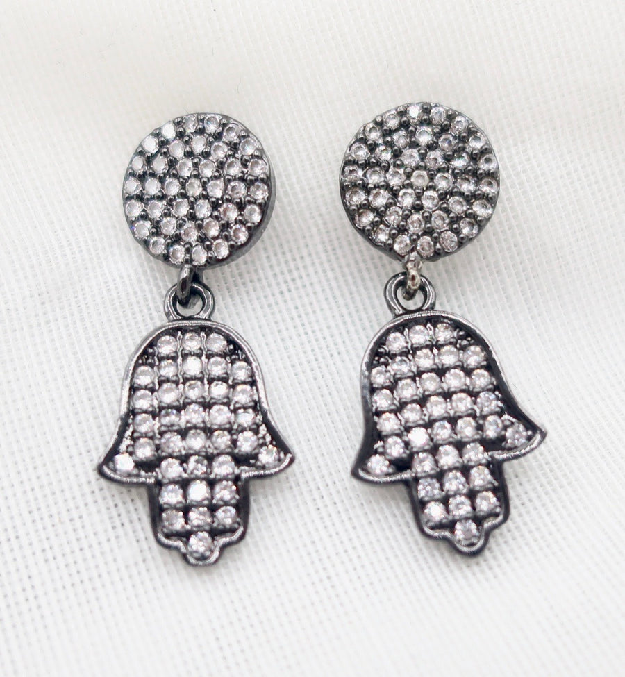 Burnished Silver Petite Crystal Hamsa Earrings