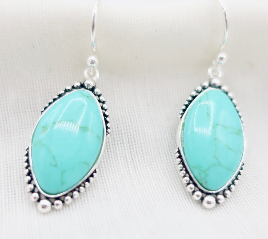 Turquoise and Beaded Silver Earrings