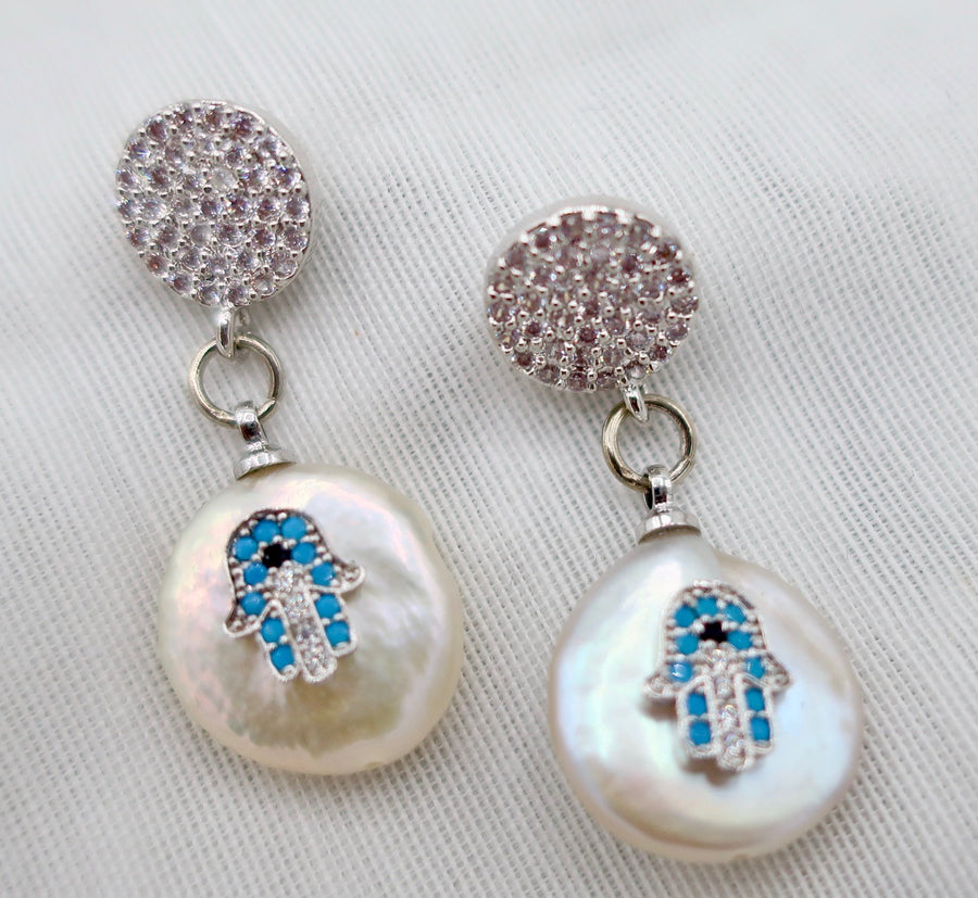 Coin Pearl and Hamsa Earrings