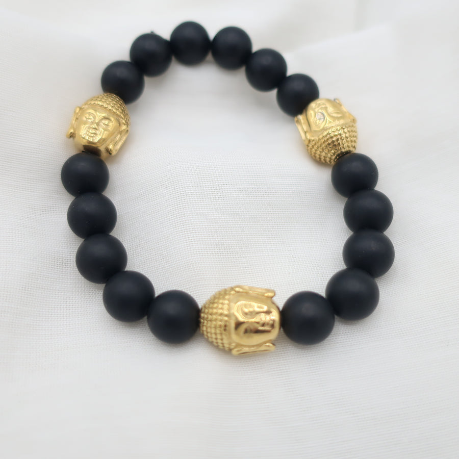 Mens Lava Stretch Bracelet with 2 Buddha Charms
