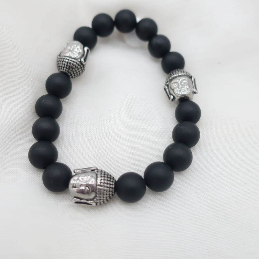 Mens Lava Stretch  Bracelet with Silver Buddha Charms