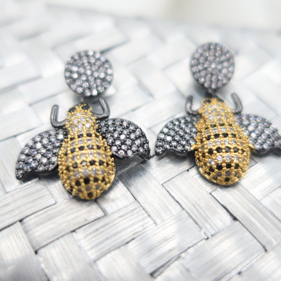 Burnished Silver Crystal Bee Two Tone Earrings