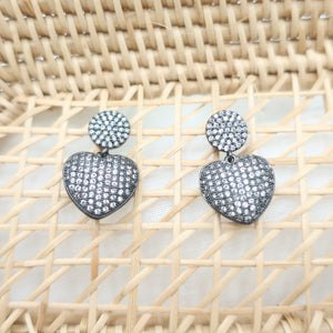Burnished Silver Crystal Heart Earrings