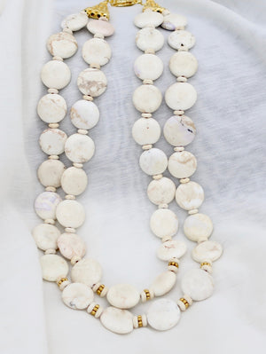 SALE- White Smooth Agate Necklace