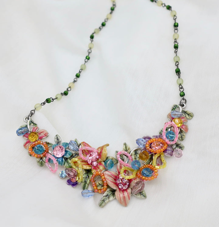 Bouquet of Flowers Enamel Necklace