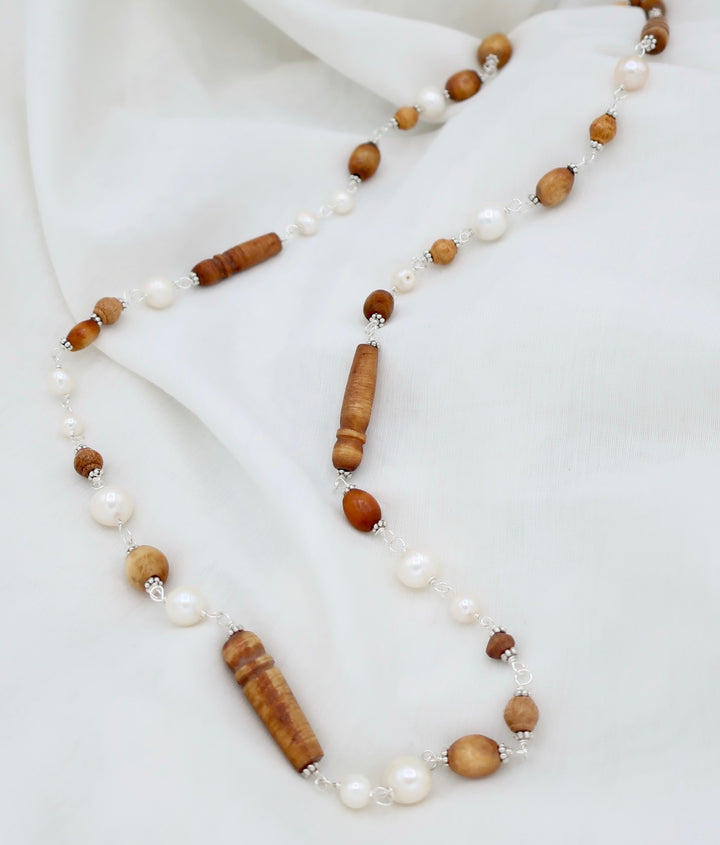 Carved Prayer Beads and Pearls Necklace