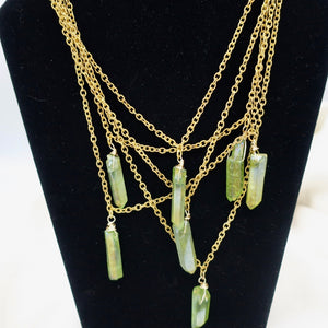 Green Radiated Crystal Necklace