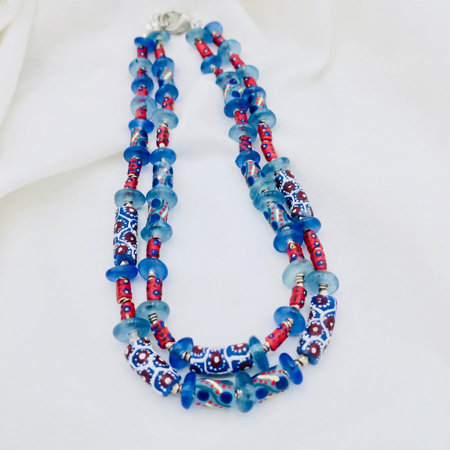 Blue African Bead Necklace