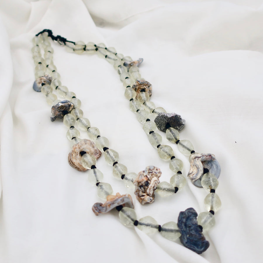Sale Raw Agate with Glass Bead Necklace