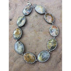 SALE Natural agate and crystal necklace