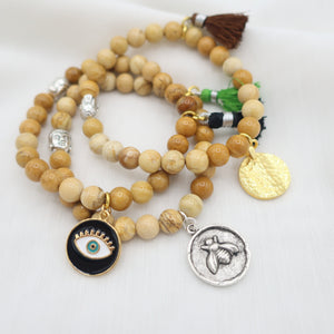 Honey Agate with Charms