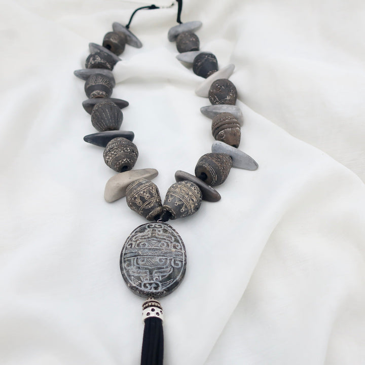Hand Carved African Beads with Tassel Pendant Necklace