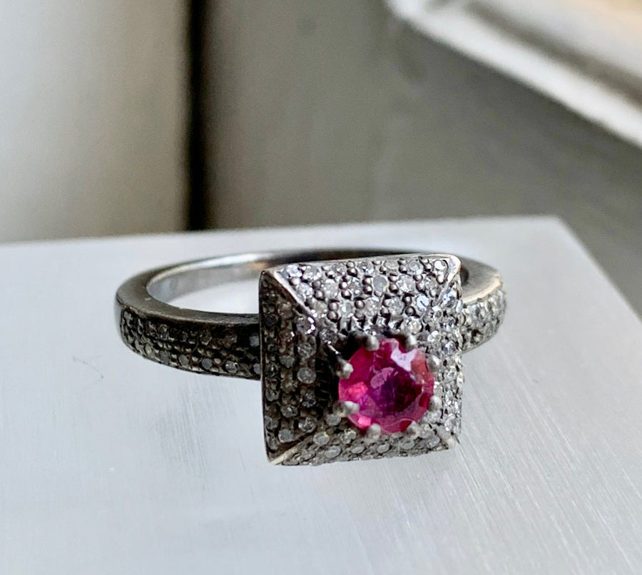 Ruby and Pave Diamond Ring