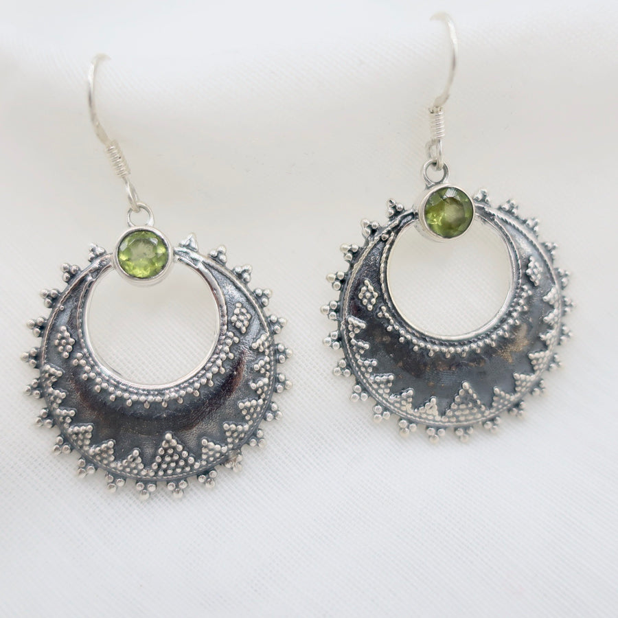 Etched Silver Drop Earrings with Peridot Accents