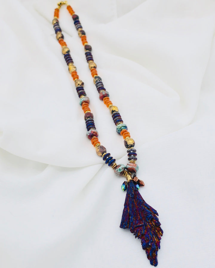 Long Radiated Lava Pendant and Amber Bead Necklace