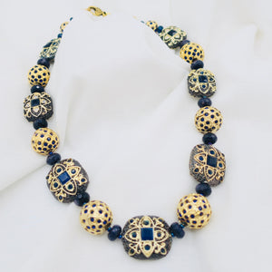 Navy Blue Beaded Necklace
