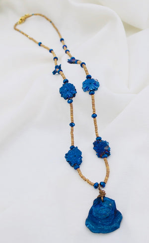 Long Blue Solar Agate Necklace