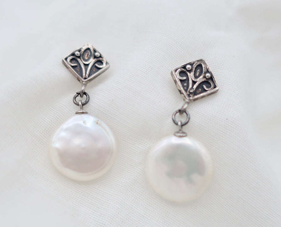 Silver and Coin Pearl Drop Earrings