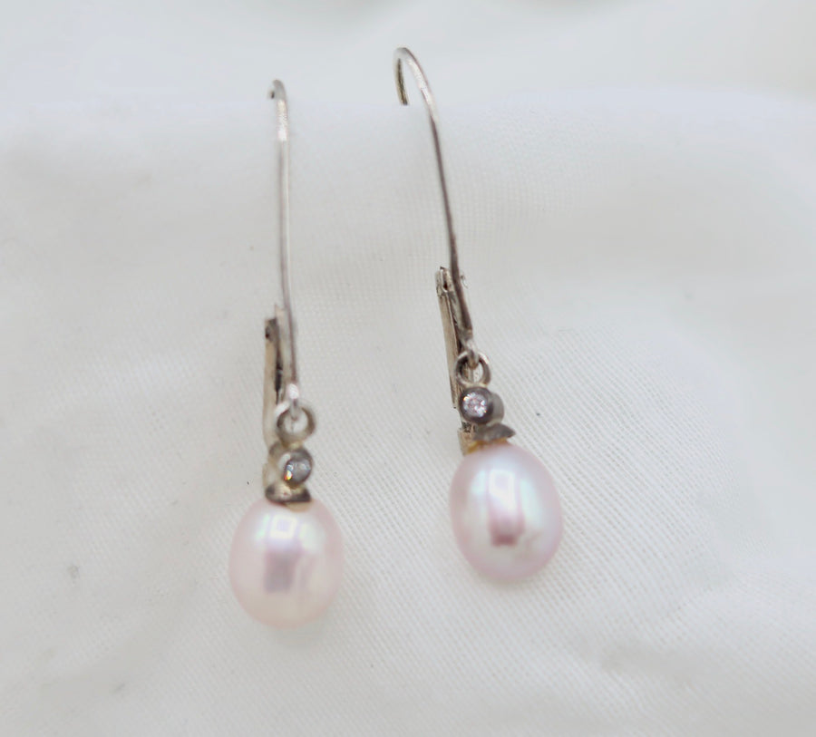 Long Pearl Drop with Diamond Earrings