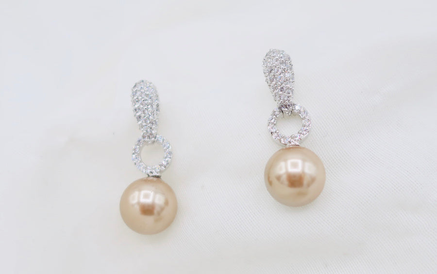Cocoa Pearl and Crystal Earrings