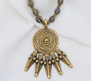 African Trading Beads with Brass Beads and Pendant Necklace