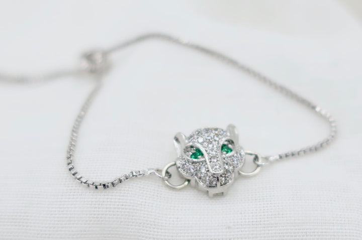 Crystal and Silver Panther with Green Eyes Bracelet