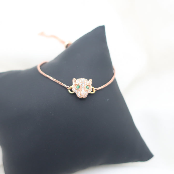 Rose Plated Crystal Panther Bracelet with Green Eyes