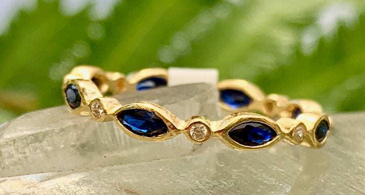 Blue and Golden Stack Ring