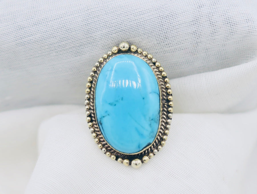 Turquoise and Silver Oval Ring