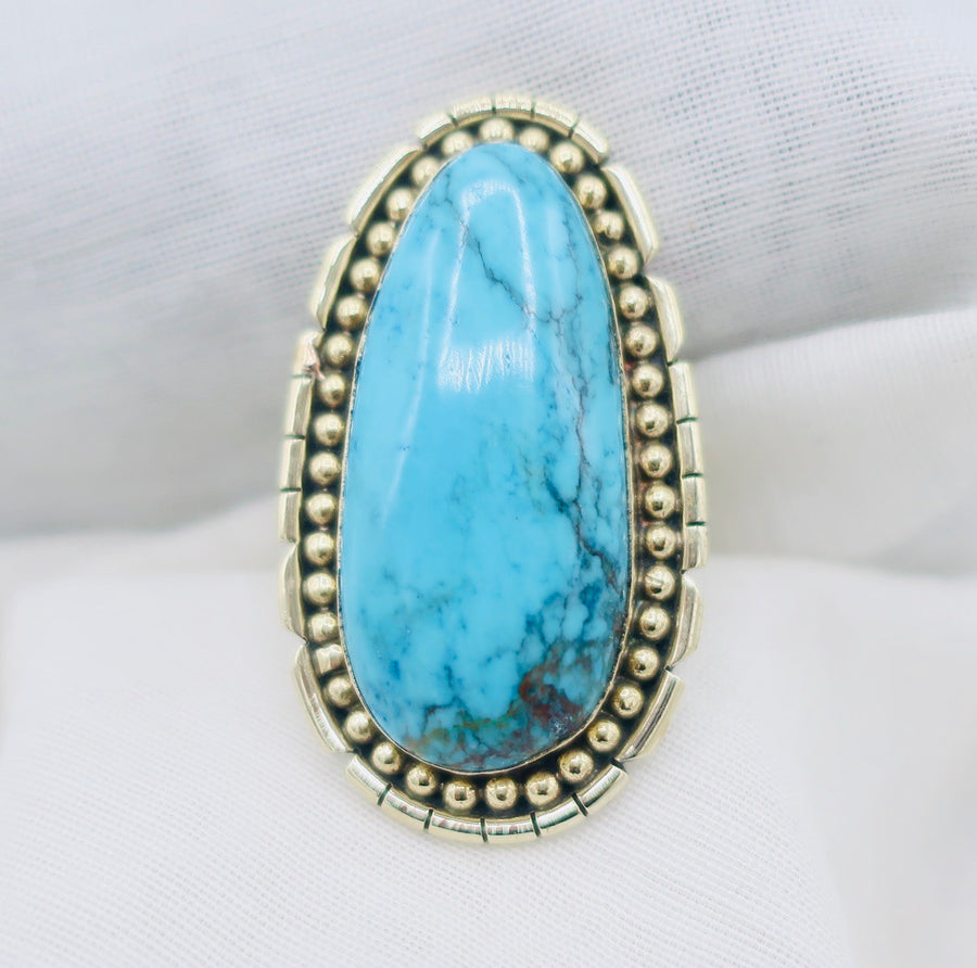 Large Silver and Turquoise Ring