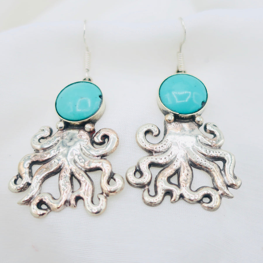 Silver and Turquoise Octopus Earrings