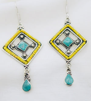 Yellow and Turquoise Earrings