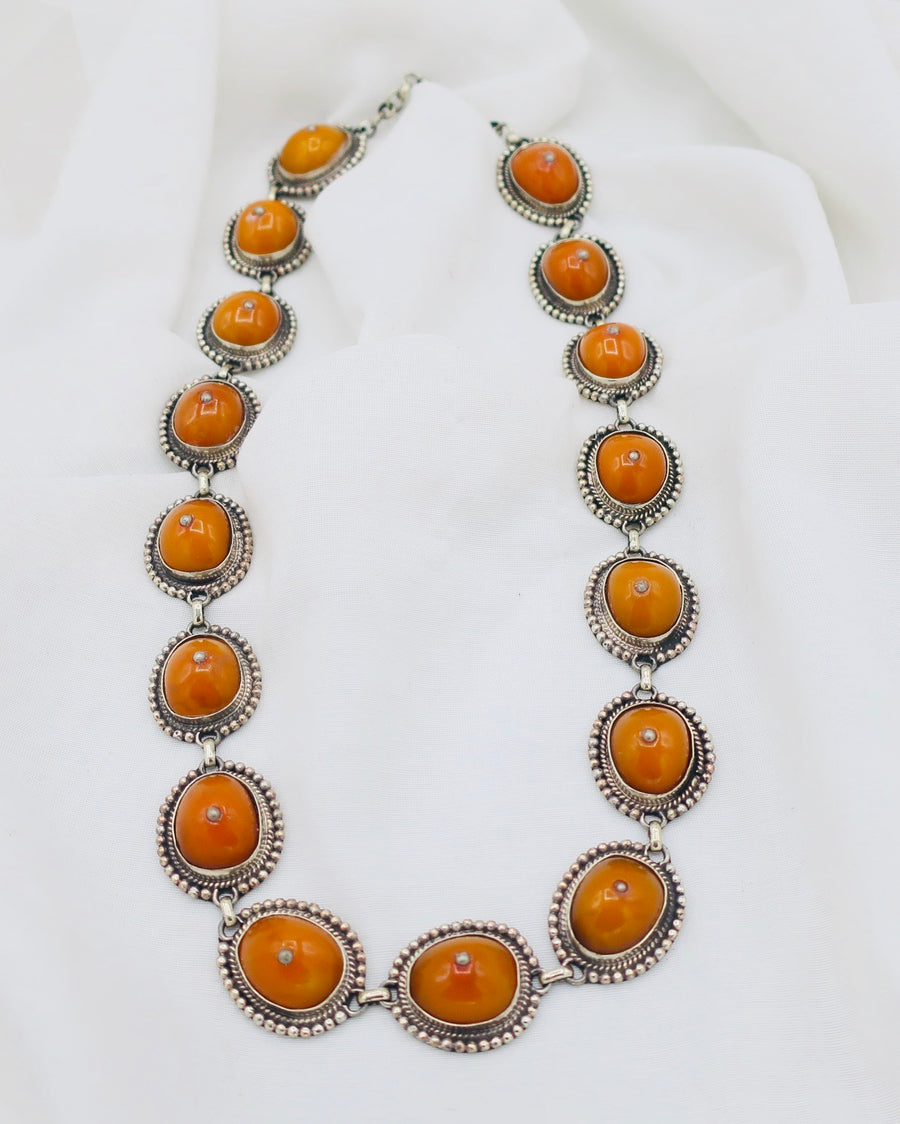 Long Amber and Silver Necklace