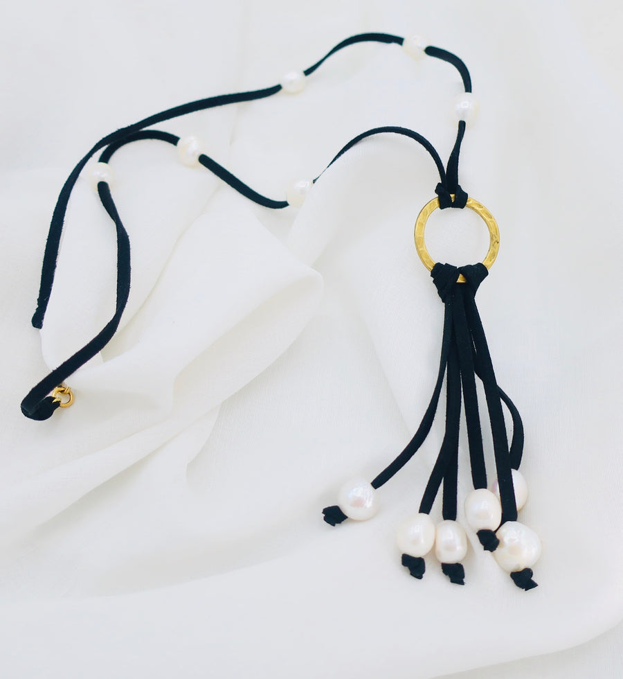 Leather and Pearl Tassel Necklace