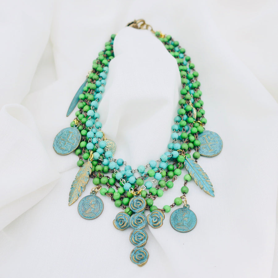 Turquoise and Charm Necklace