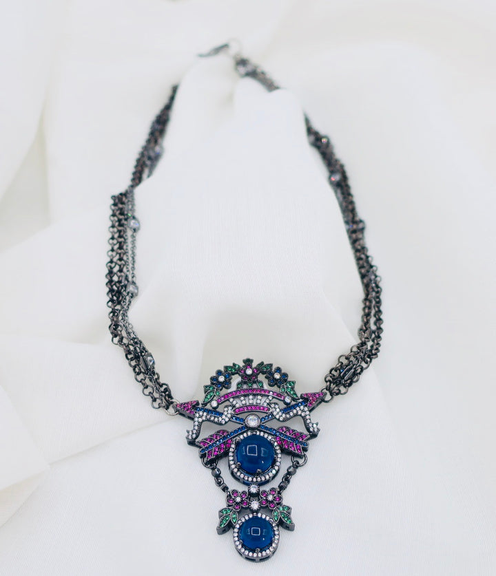 Sapphire and Diamond Chain Necklace