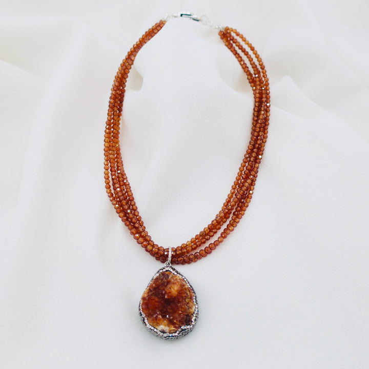 Citrine Strand Necklace with Druzy Pendant