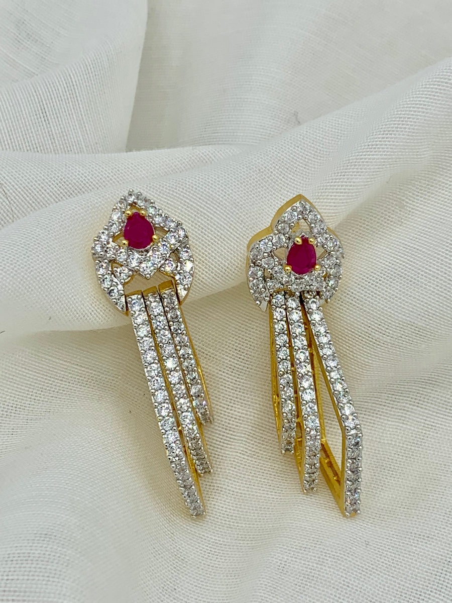 Ruby and White Topaz Earrings