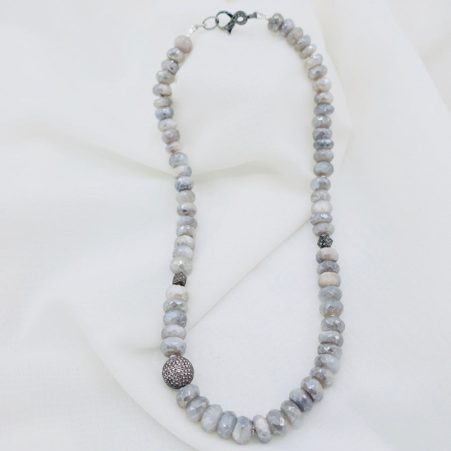 Diamond and Gray Moonstone Necklace