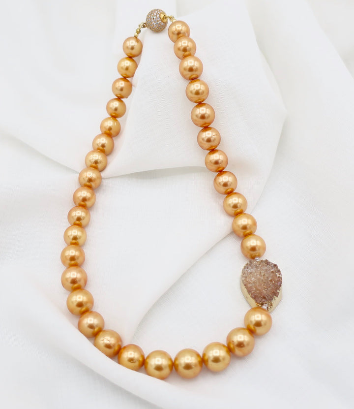 Golden Pearls with Druzy Charm Necklace