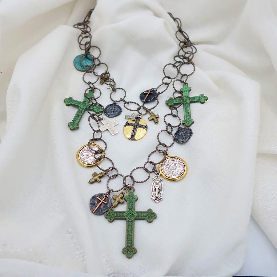 Crosses on Double Loop Necklace