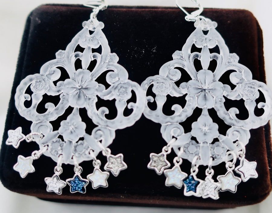 Shiny Stars on Chandelier Earrings