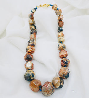 Natural Agate with Hand Knotted Necklace
