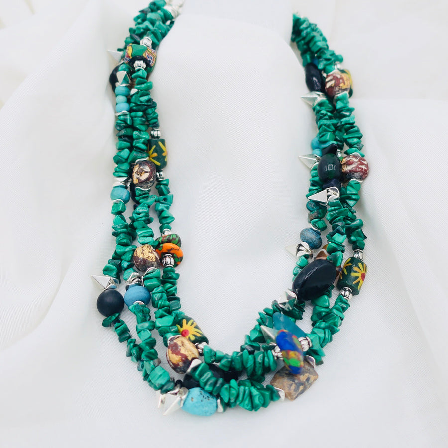 Malachite With African Beads Necklace