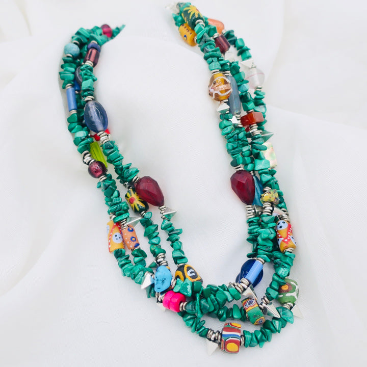 Malachite with Multicolor Bead Necklace