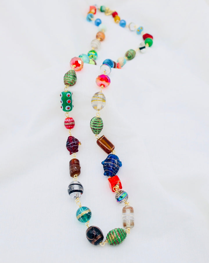 Long Hand Blown Bead Necklace