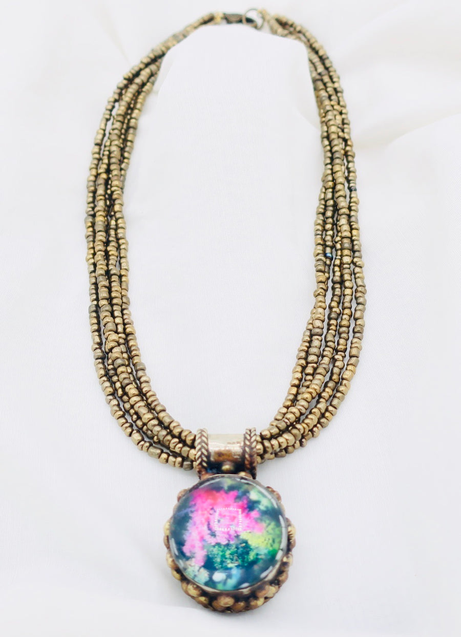 Multiple Strands With Glass Pendant Necklace