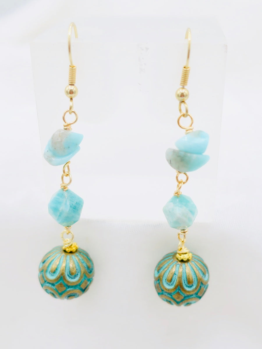 Patina with Larimar Drop Earrings